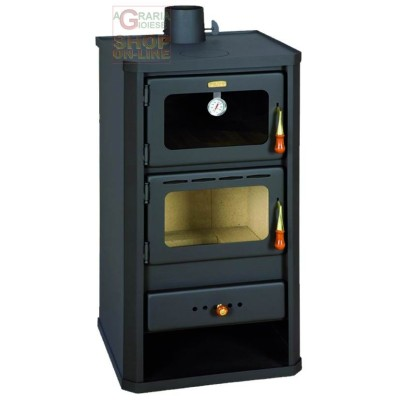 WOOD BURNING STOVE IN THE STAINLESS STEEL MOD. FLORENCE WITH OVEN COLOUR ANTHRACITE CM. 49X46X93