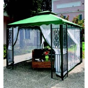 THE GAZEBO IN THE THREAD MT.3X3 DECORATED GREEN METAL STRUCTURE
