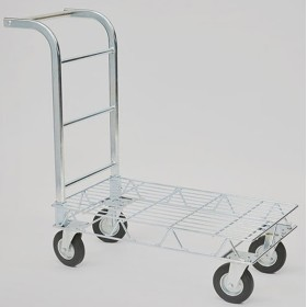 CART TO PIANETTA IN GALVANIZED WIRE WITH FOUR WHEELS