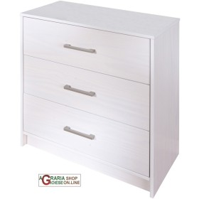 Chest of DRAWERS WITH 3 DRAWERS IN SOLID PINE COLOUR WHITE cm.