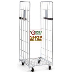 CART WITH 2 SIDES ZINC-PLATED ROLL CONTAINER CM. 80x71x180h NEW