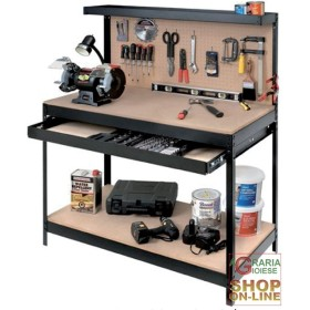 WORKBENCH WITH PERFORATED PANEL CM. 121 x 61 x 150H