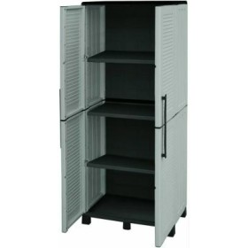 WARDROBE IN RESIN GREY 2 DOORS 3 SHELVES CM HIGH. 70X39X172