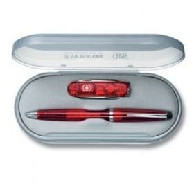 VICTORINOX SET CROSS ONLY TRANSLUCENT RED WITH MULTI-PURPOSE