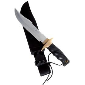 Paolucci Pugnale con manico nero lama inox con sega con fodero cm. 21