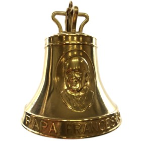Brass bell commemorating Pope Francis dimensine mm. 98 x 130h