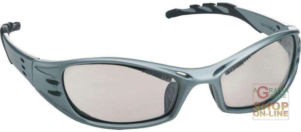 Occhiale a stanghetta montatura acciaio colore blu lenti a specchio - Occhiali lenti blu specchio ...