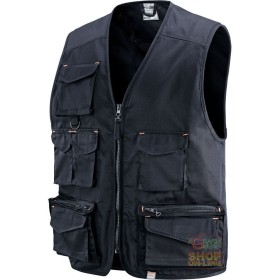 VEST 65% POLYESTER 35% COTTON MULTIPOCKETS BLUE TG M-L-XL-XXL