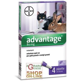 ADVANTAGE 80 FOR CATS AND RABBITS LARGE 4 PIPPETTE BOTTLE KG. 4