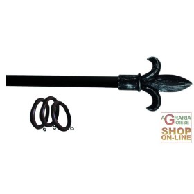 KIT, CURTAIN ROD IRON, ANTHRACITE SPEAR TIP CM.120-210