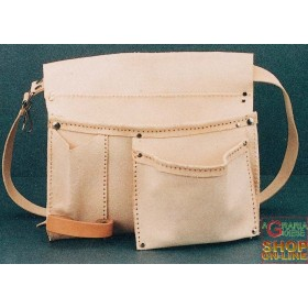 LEATHER BAG FOR CARPENTER, THREE POCKETS WITH PORT HAMMER AND