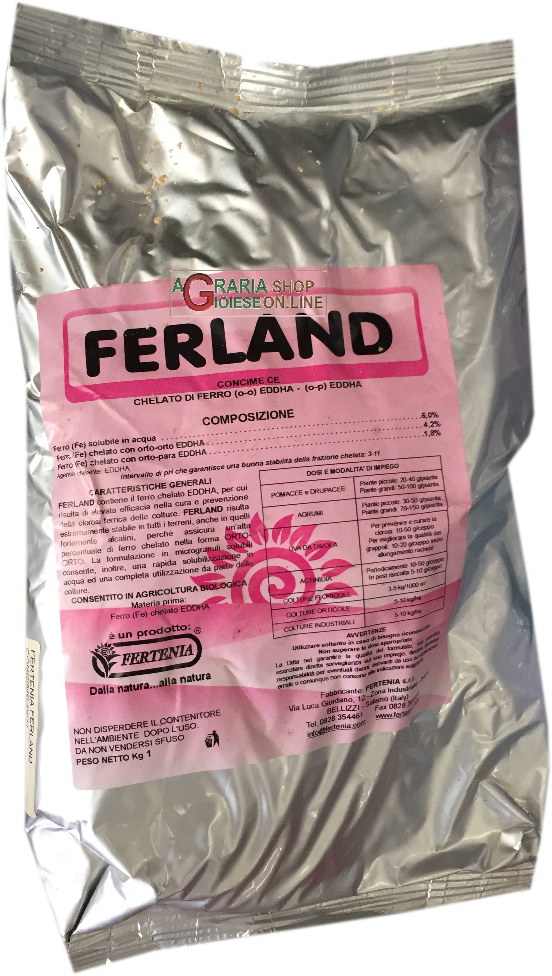 FERTENIA FERLAND FERTILIZER FOR FERTIRRIGATION WITH A BASE OF IRON CHELAT