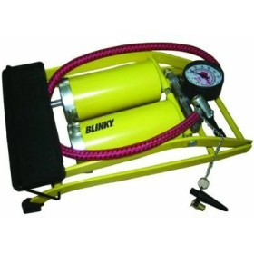 BLINKY PUMP FOR CYCLES, PEDAL-DOUBLE WITH PRESSURE GAUGE