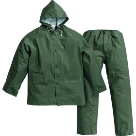 COMPLETE WATERPROOF JACKET AND TROUSERS PLUVIO GREEN PVC