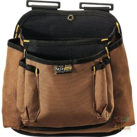 BAG CARPENTER 2 POCKETS CANVAS FABRIC COLOR BROWN