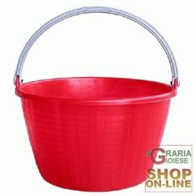 BASKET ROUND RED AGRICULTURAL FOLDABLE HANDLE LT. 16