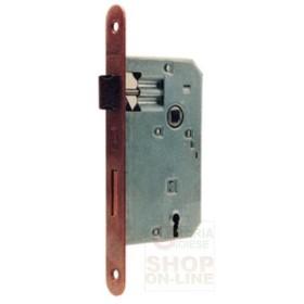 Serratura Patent ottonata con piastra arrotondata quadro mm. 8