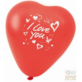 FACKELMANN 5 RED BALLOONS IN THE SHAPE OF A HEART WITH THE
