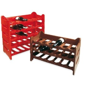 WINE CELLAR BOTTLE HOLDER PLASTIC STACKABLE 6 SEATER BROWN