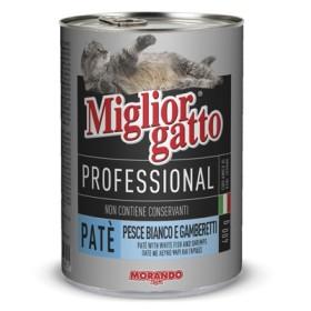 MIGLIORGATTO PATE PROFESSIONAL PESCE BIANCO E GAMBERETTI GR.400