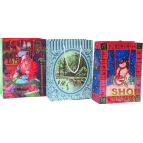 GIFT BAGS CHRISTMAS DECORATIONS ASSORTED CM.25X20