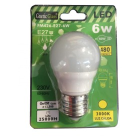 LED BULB WARM LIGHT 3000K 480 LUMENS E27 6W