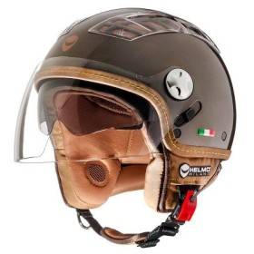 CASCO DA MOTO HELMO TURBINE DEMI-JET METALLIC BROWN CON VISIERA
