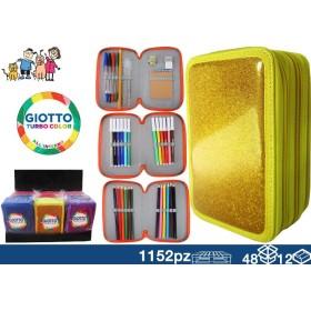 ASTUCCIO GIOTTO 3ZIP GLITTER 48/12