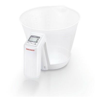 Leifheit Bilancia da cucina digitale con recipiente graduato trasparente massima precisione portata fino a 3 kg.