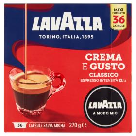 Lavazza A Modo Mio,Caffè Espresso, Crema E Gusto Classico- 36 Capsule Salva Aroma 270 G
